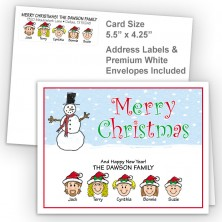 Snowman 3 Merry Christmas Fold Note Set