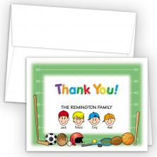 Sports Foldover Family Thank You Card