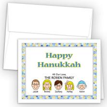 Stars Happy Hanukkah Holiday Fold Note Head