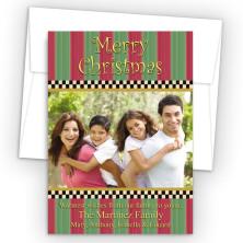 Stripes and Checks Photo Upload Holiday Card