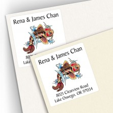Tattoo Koi Square Address Labels