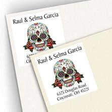Tattoo Skull Square Address Labels