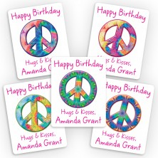 Tie Dye Peace Signs Mini Gift Labels