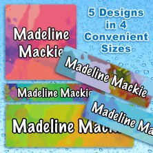 Tie Dye Waterproof Name Labels For Kids