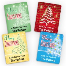 Trees Merry Christmas Small Gift Labels
