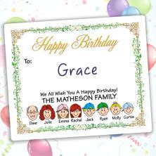 Vines Happy Birthday Gift Label