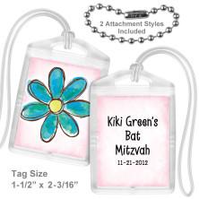 Watercolor Flower Aqua Mini Tag