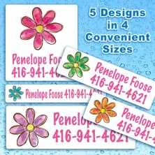 Watercolor Flowers Waterproof Name Labels For Kids
