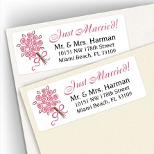 Wedding Bouquet Dusty Rose Address Labels