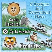 Zoo Animals Waterproof Name Labels For Kids
