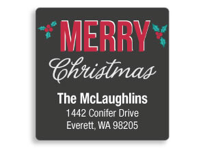 Christmas Square Address Labels