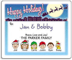 Family Caricature Holiday Gift Labels