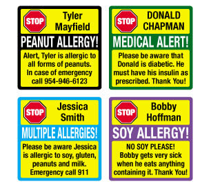 Allergy Square Labels