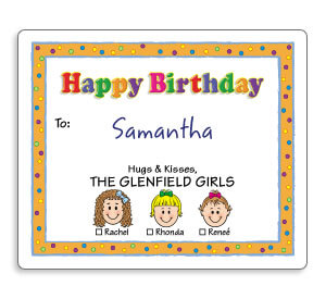 Caricature Birthday Gift Labels