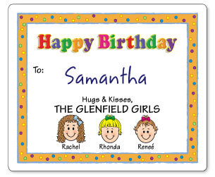 Personalized Caricature Birthday Gift Labels