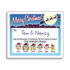 Family Caricature Christmas Gift Labels