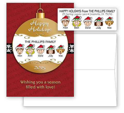 Happy Holidays Ornament Card Combo Sets
