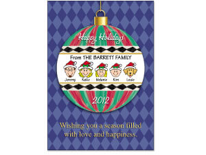 Caricature Happy Holiday Ornament Cards