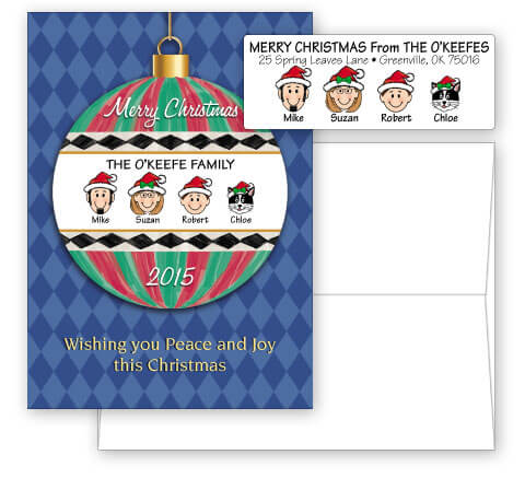Merry Christmas Ornament Card Combo Sets