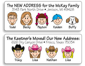 Family Caricature Address Labels