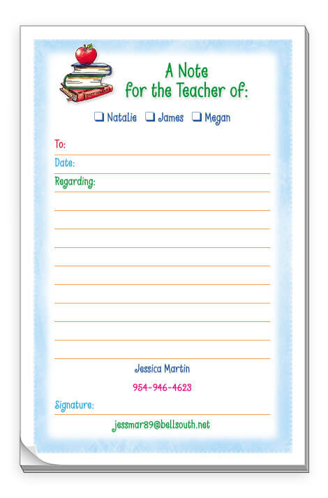 Personalized School Excuse Pads