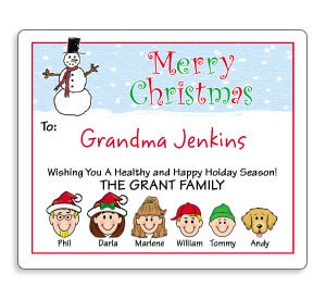 Personalized Caricature Christmas Gift Labels