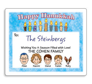 Personalized Caricature Hanukkah Gift Labels
