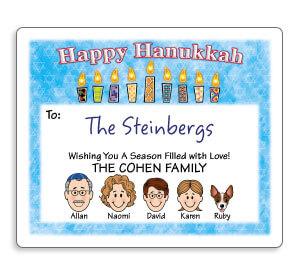 Personalized Caricature Hanukkah Gift Labels