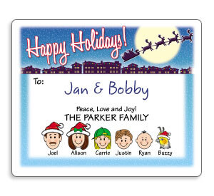 Personalized Personalized Caricature Holiday Gift Labels